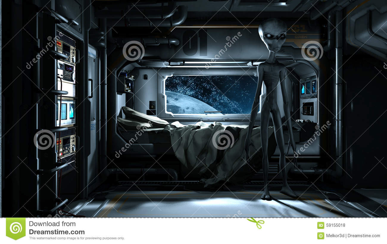 alien bedroom futuristic grey space station spaceship background