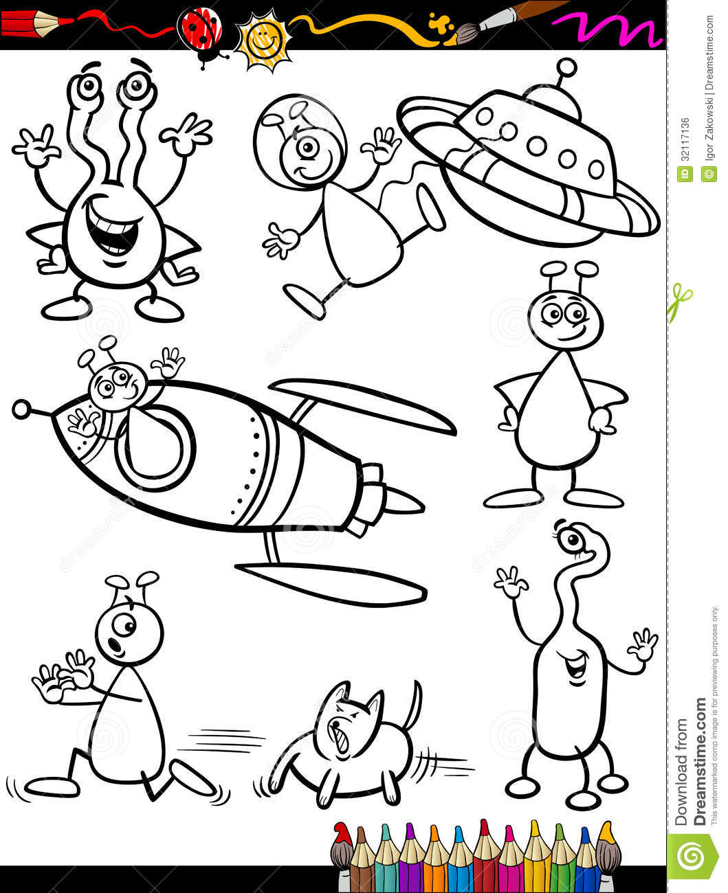 Aliens Cartoon Set For Coloring Book Royalty Free Stock