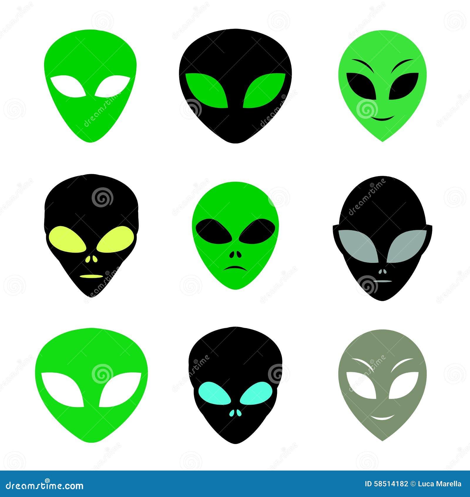 Aliens Faces Set Stock Vector - Image: 58514182