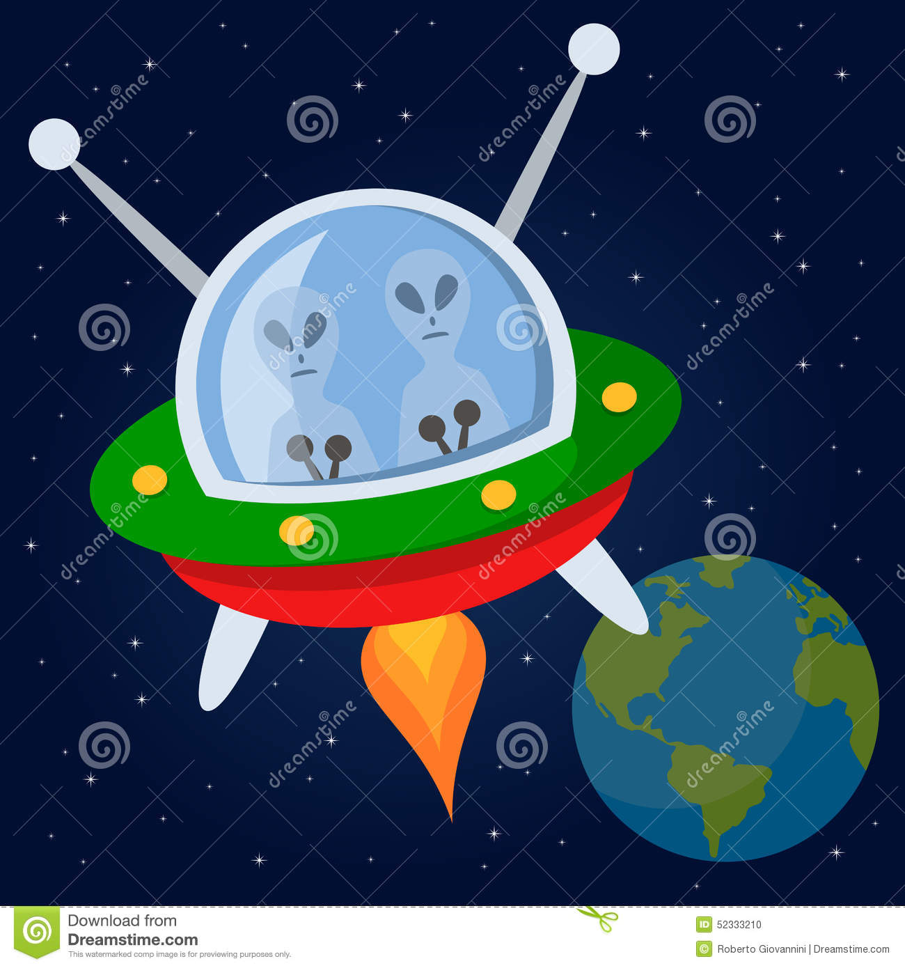 Aliens flying with spacecraft in the space stock vector for Flying spaces