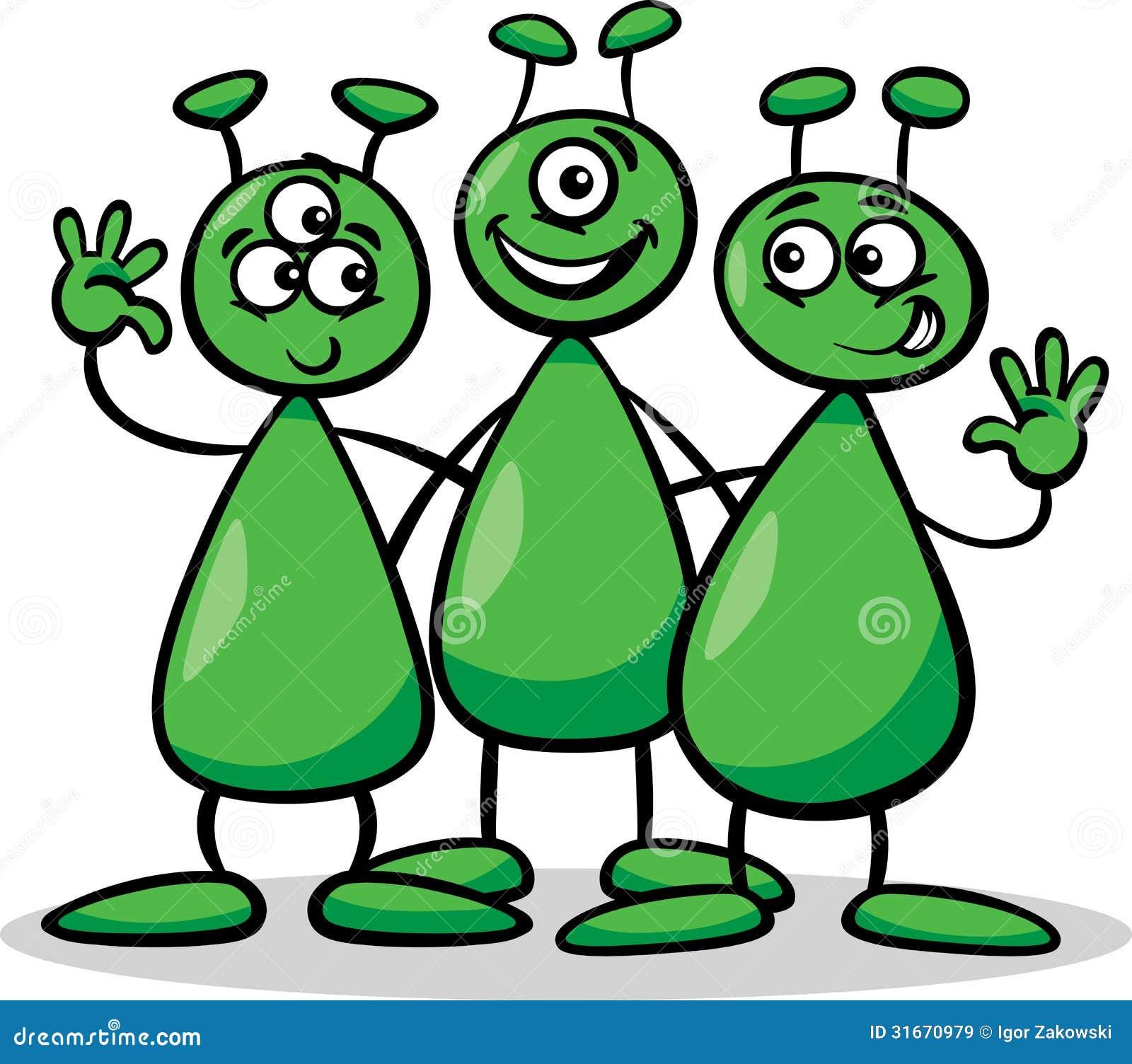 Download Aliens Or Martians Cartoon Illustration Stock Vector