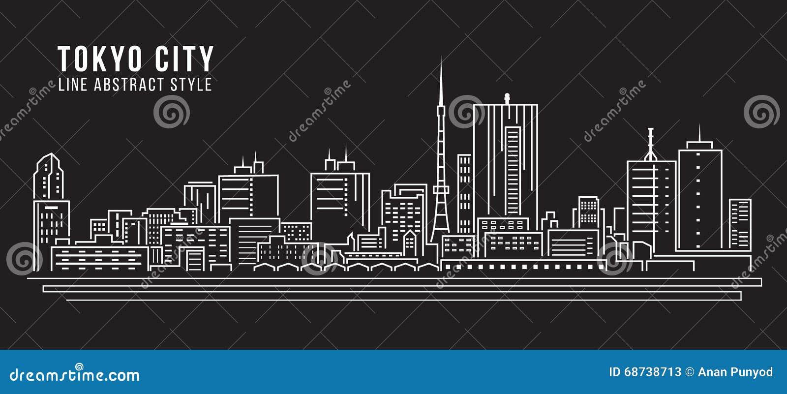 Alignement de paysage urbain conception d illustration de vecteur d art - ville de Tokyo