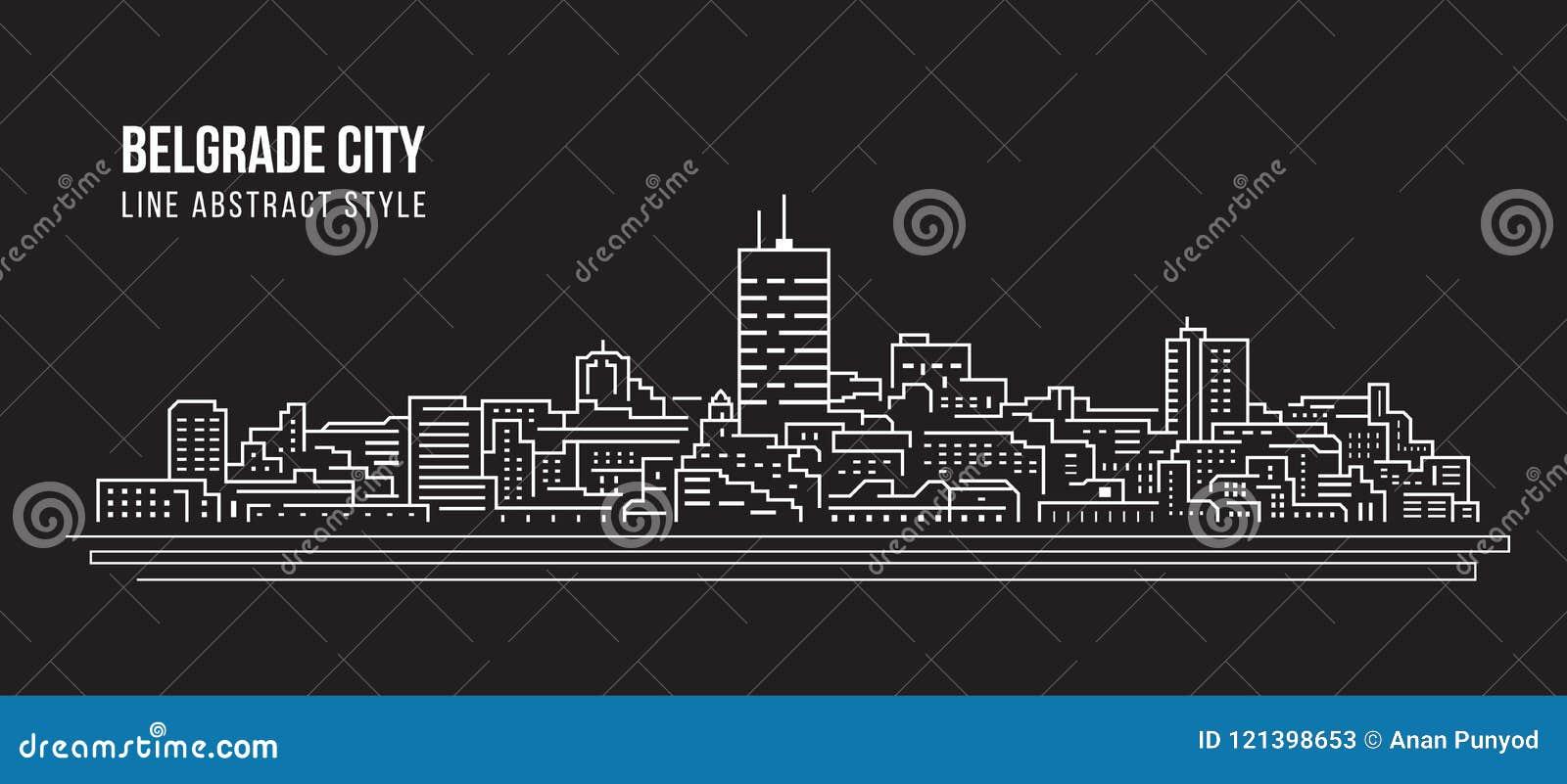Alignement de paysage urbain conception d illustration de vecteur d art - ville de Belgrade