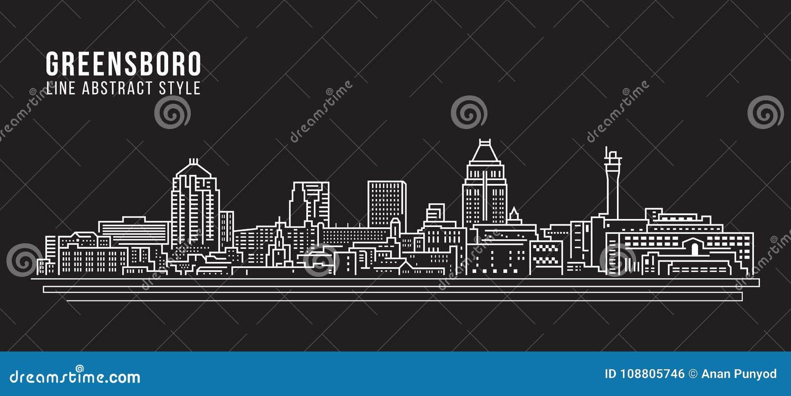 Alignement de paysage urbain conception d illustration de vecteur d art - ville de Greensboro