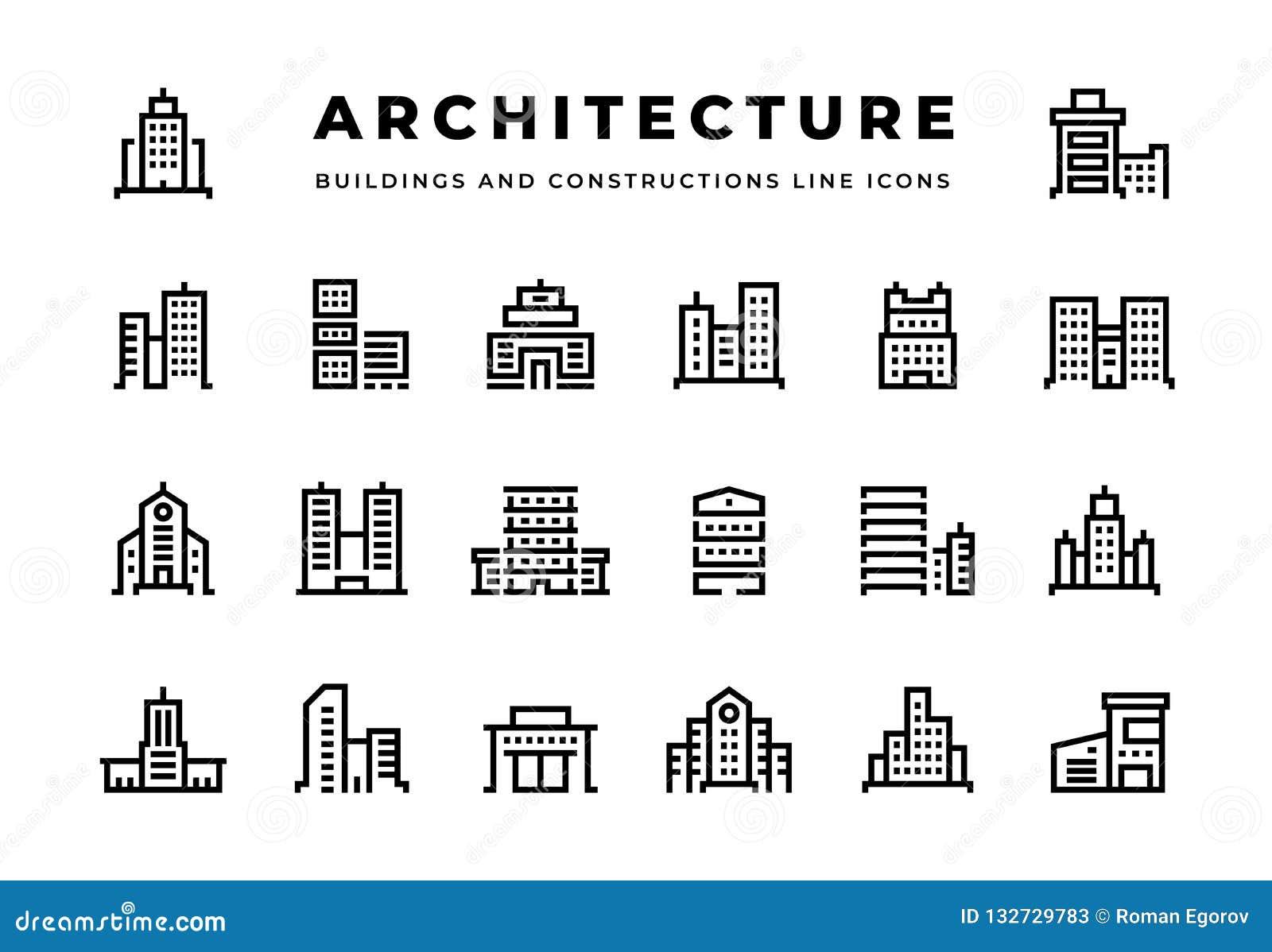 Alignement icônes Paysage urbain avec des centres d affaires de gratte-ciel et des hôtels et des maisons urbaines modernes de bur