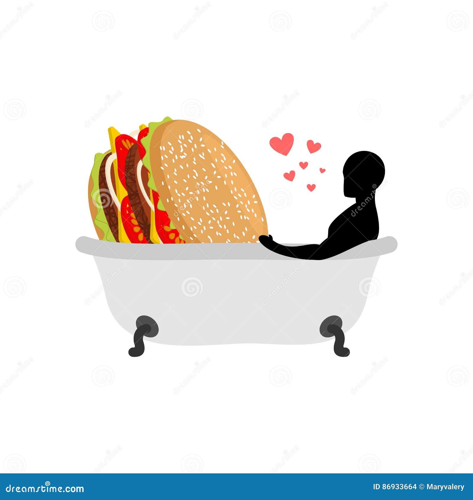 Alimenti a rapida preparazione dell amante Uomo ed hamburger nel bagno Tipo ed hamburger uniscasi
