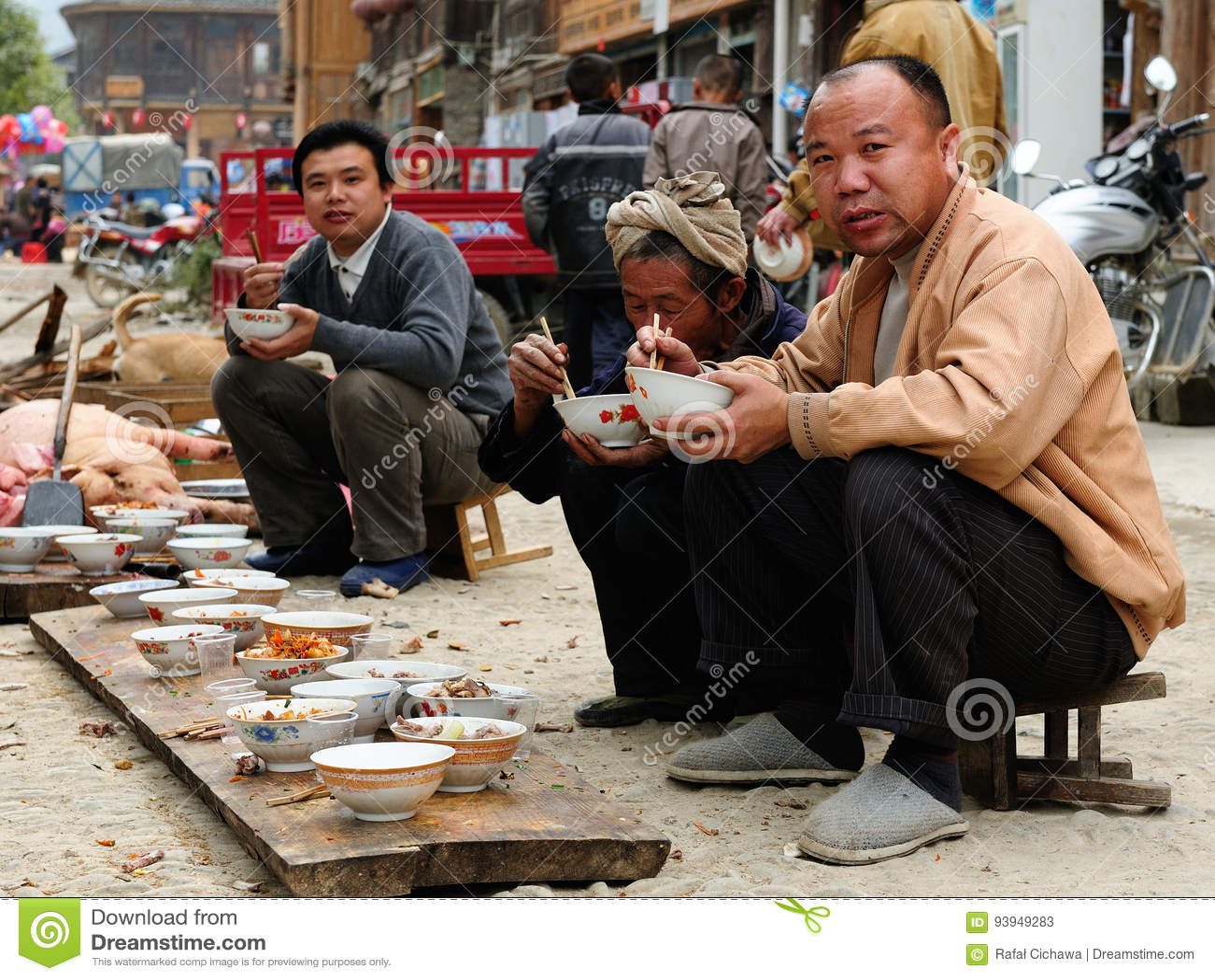 Alimento chinês da rua