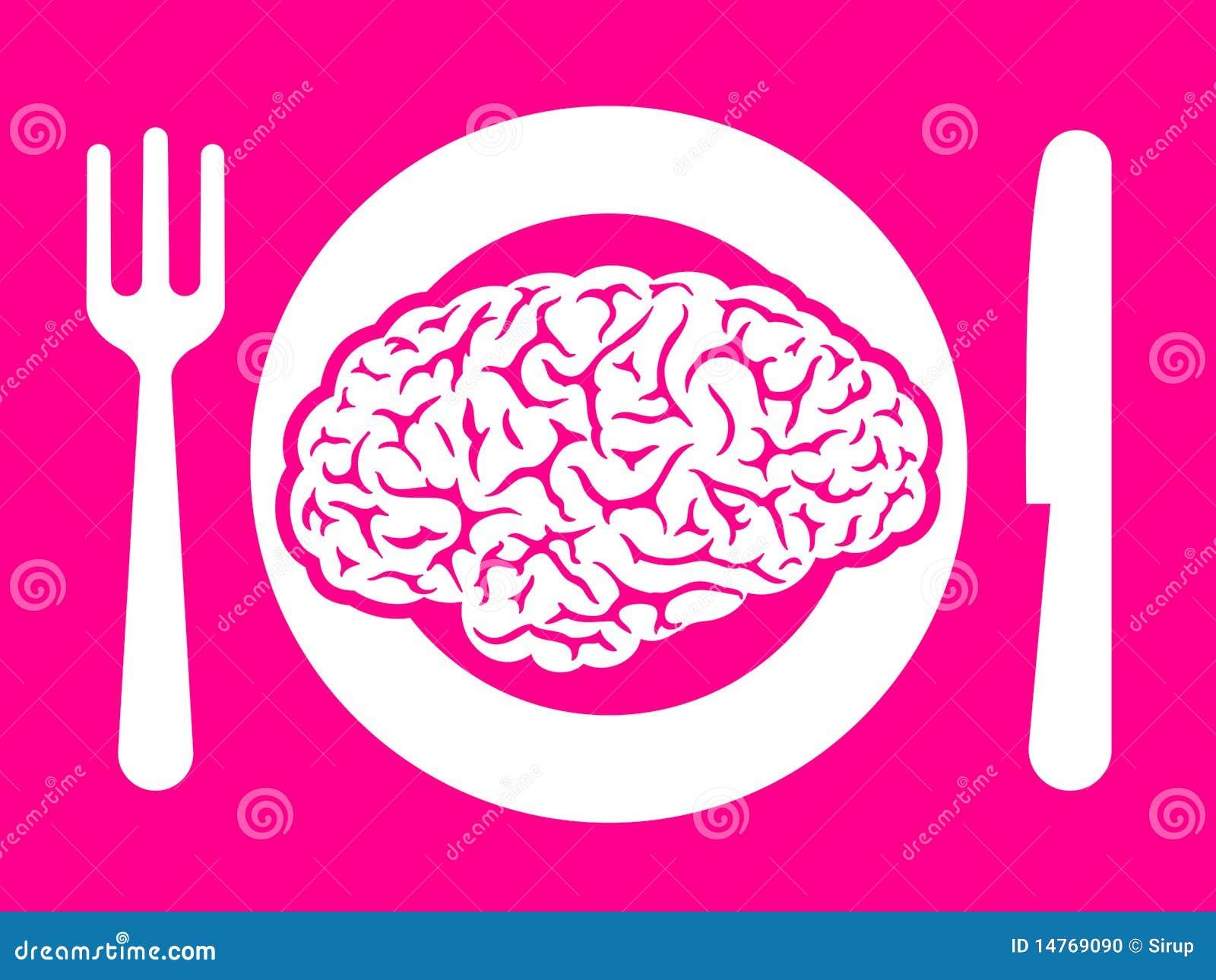 Alimento do cérebro na placa com forquilha e faca
