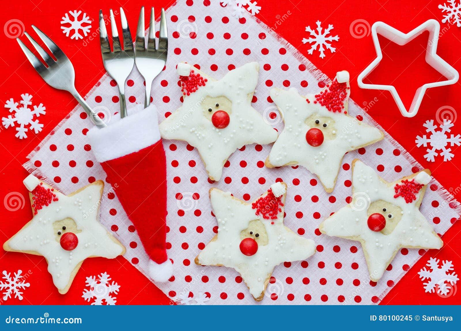 Alimento do Natal Cookies de Santa no ajuste do Natal