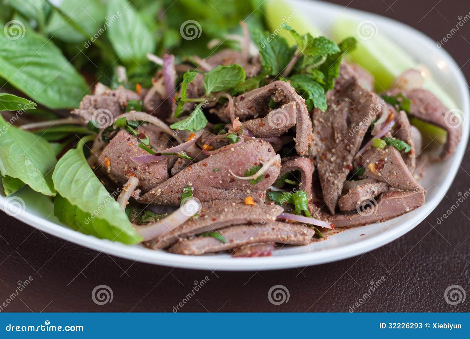 Download Alimento Do Nordeste De Tailândia, Salada Picante Doce Do Fígado. Imagem de Stock - Imagem de refeição, carne: 32226293