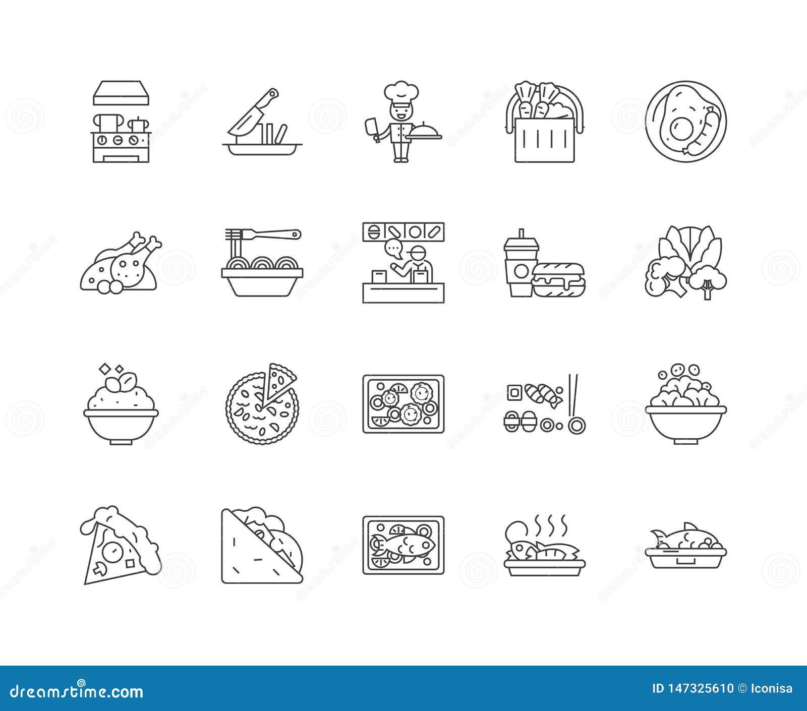 Alimento e linea icone, segni, insieme di vettore, concetto pranzare dell illustrazione del profilo