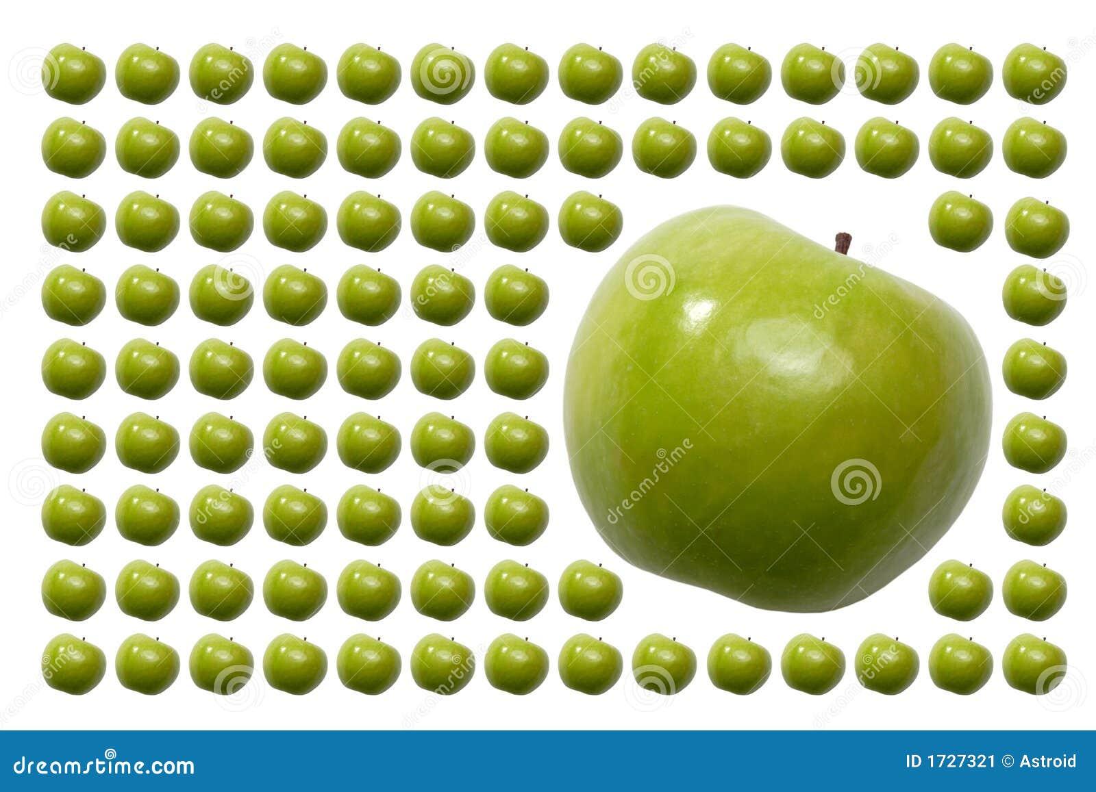 Alimento, frutas, Apple verde com cauda