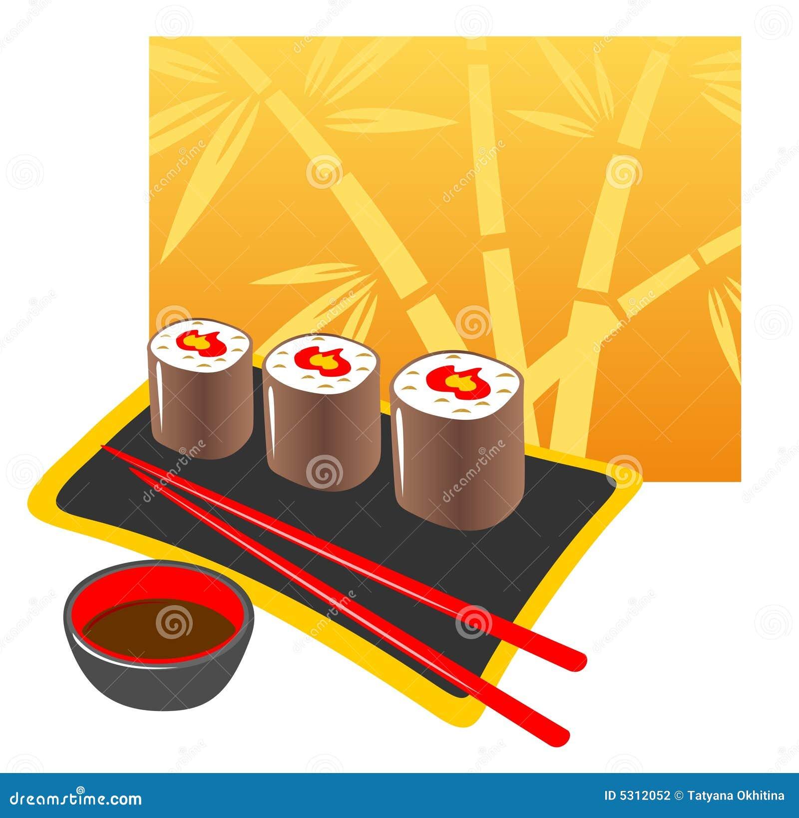 Download Alimento giapponese illustrazione vettoriale. Illustrazione di cuisine - 5312052