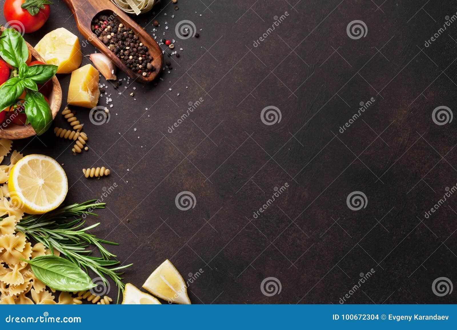 Alimento italiano Ingredientes da massa