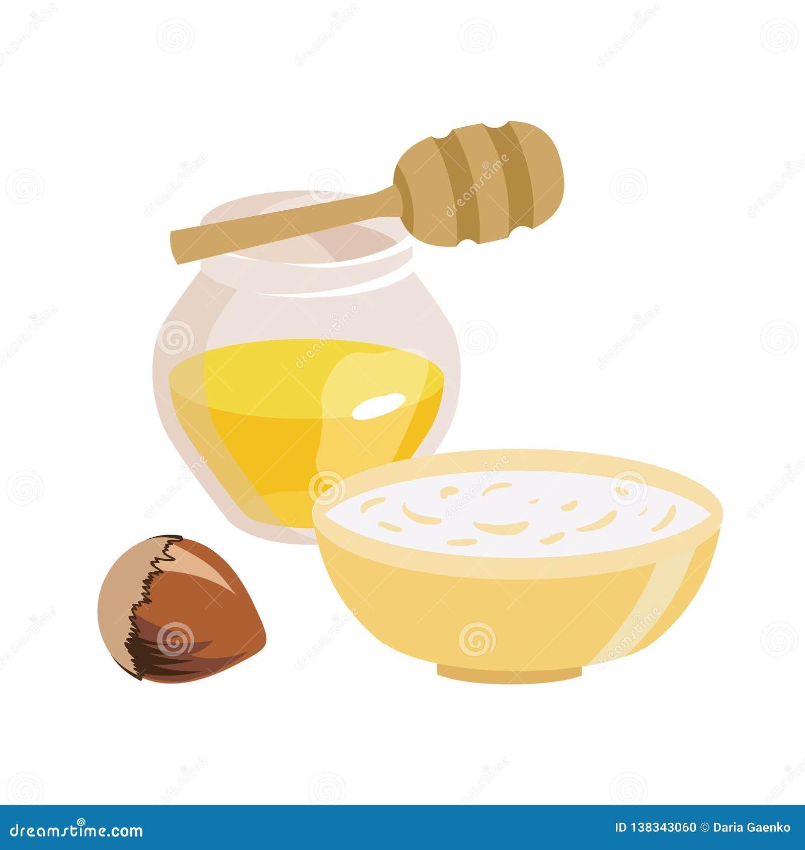 Alimento pelo tempo Lent Frasco transparente com mel Uma bacia de farinha de aveia hazelnut Ilustração isolada do vetor