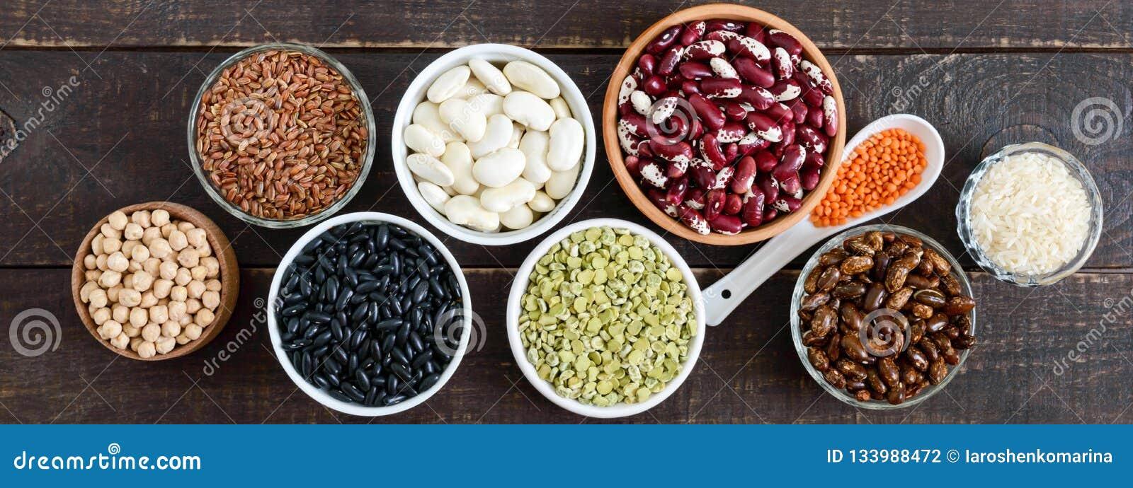 Alimento sano, essere a dieta, concetto di nutrizione, proteina del vegano e fonte del carboidrato