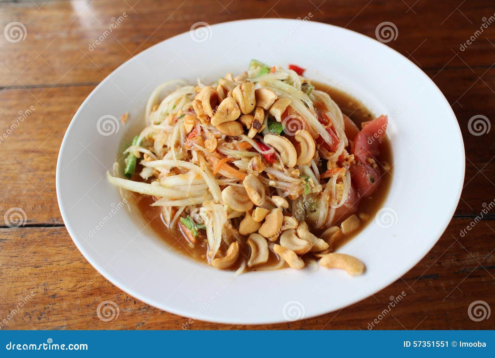 Alimento tailandés de la ensalada de la papaya