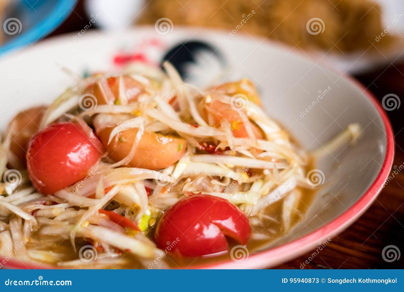 Alimento tailandês da salada da papaia