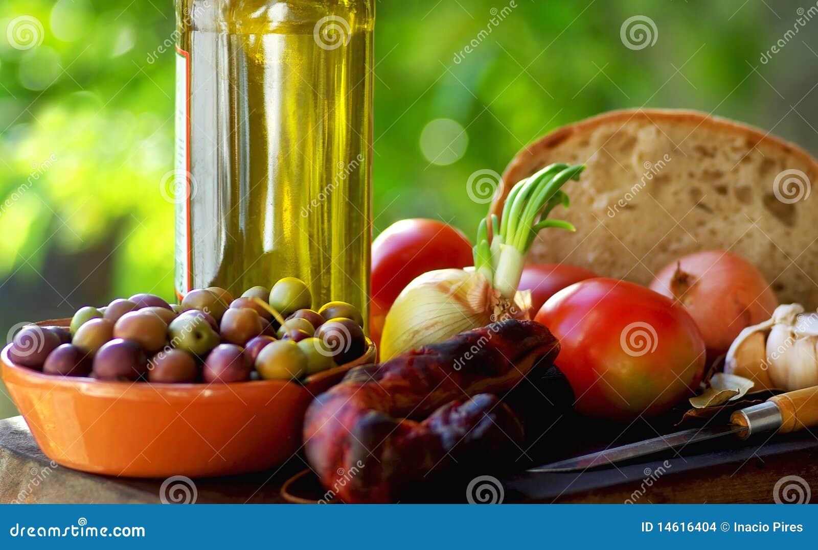 Alimento y vino portugueses.