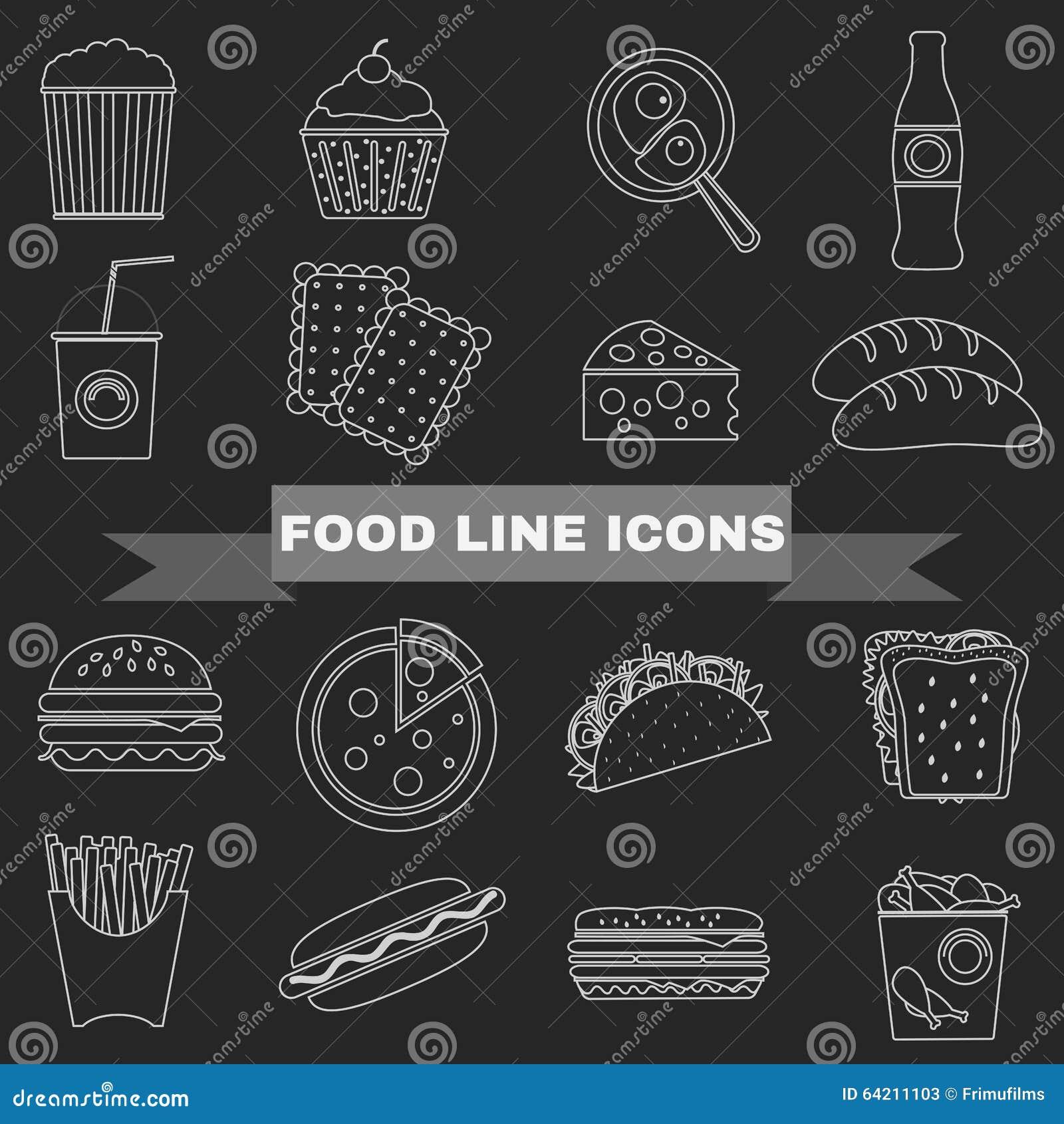Alimentos de preparación rápida e iconos grandes de los bocados fijados