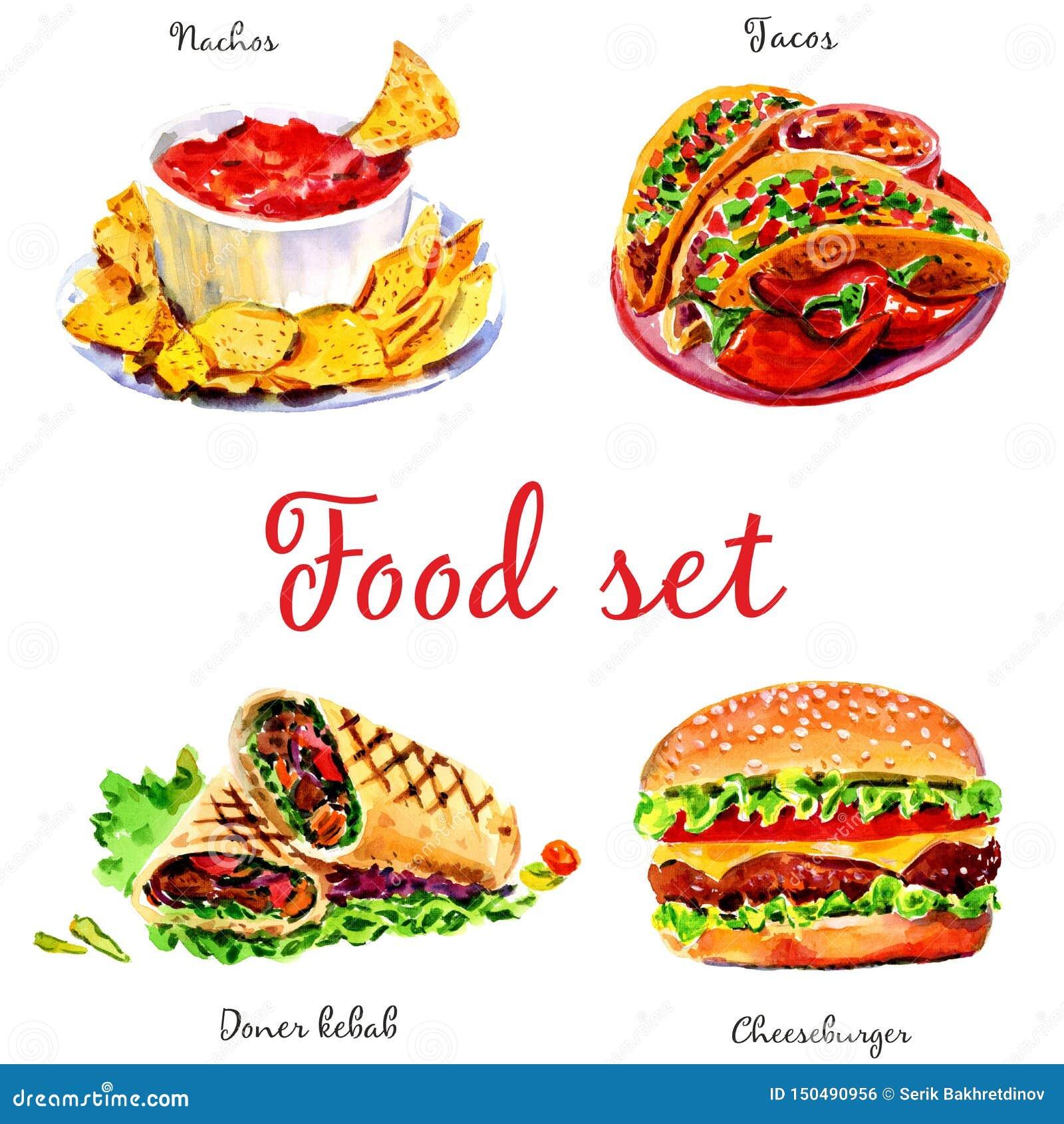 Alimentos de preparaci?n r?pida Objetos aislados en el fondo blanco
