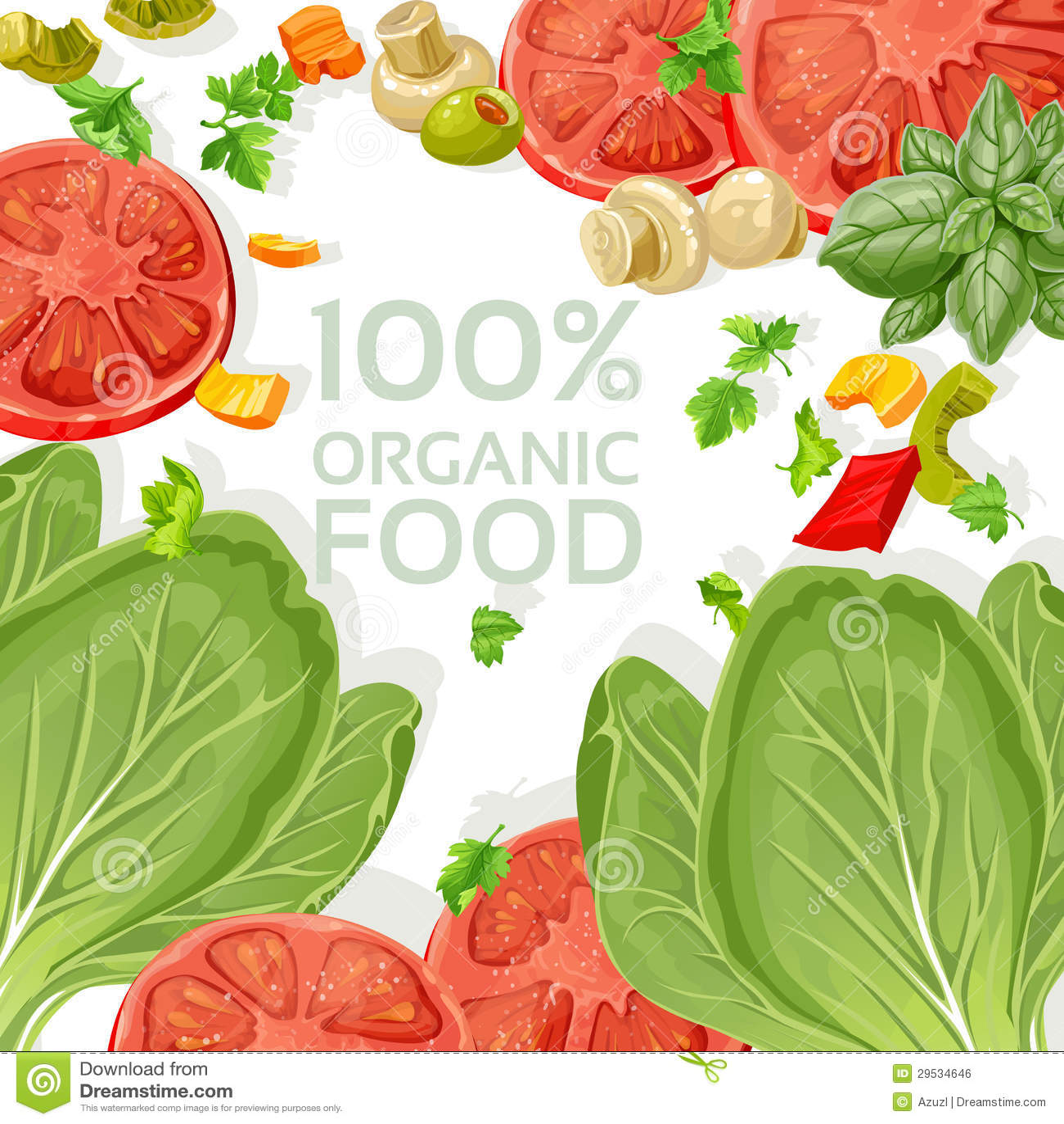 Alimentos frescos do vegetariano do fundo