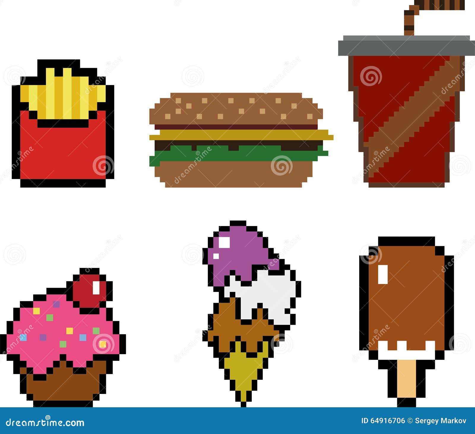 Aliments De Préparation Rapide Dans Le Style De Pixel Art