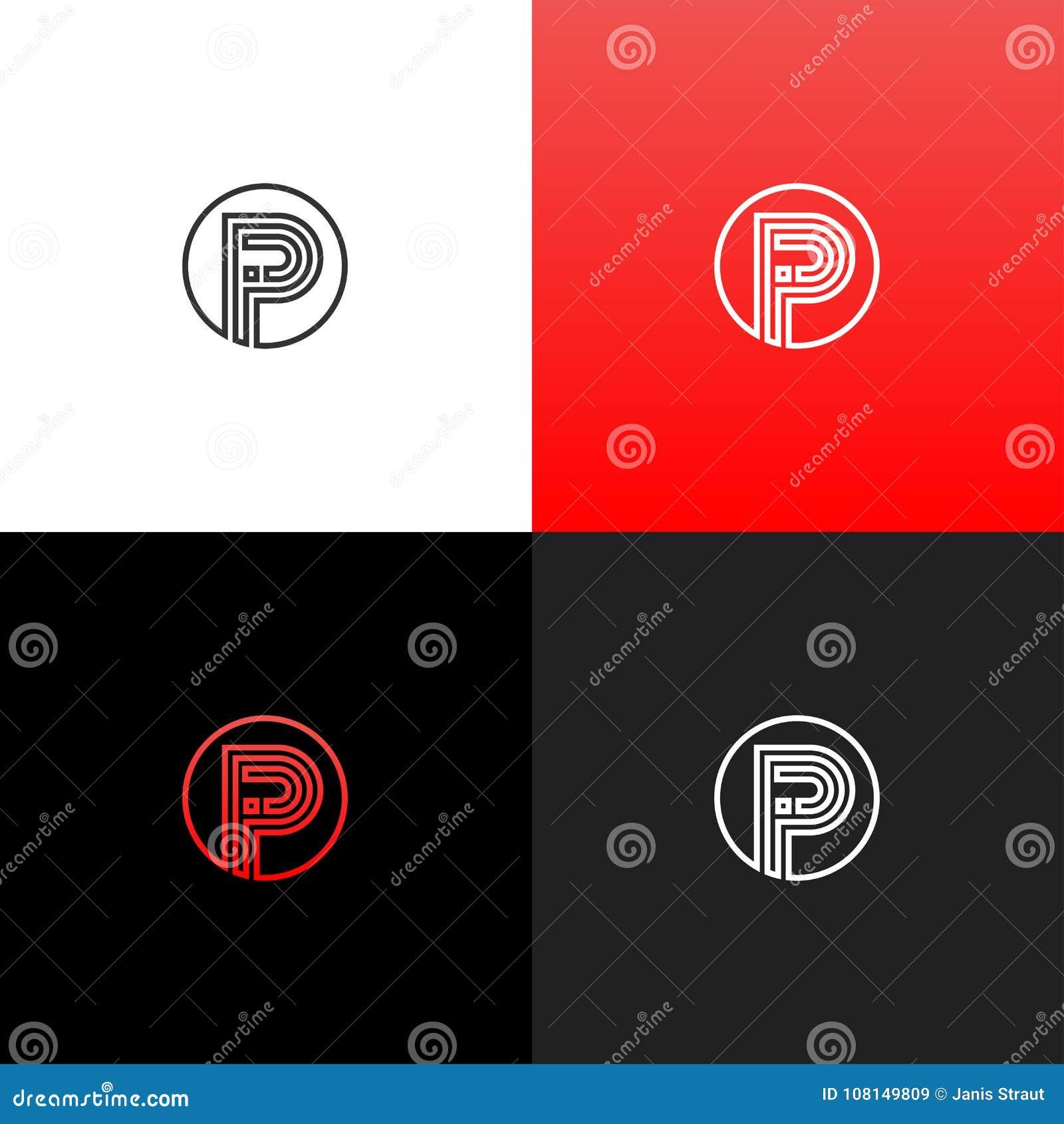 Alinea el logotipo P en círculo Logotipo linear de la letra p para las compañías y las marcas con una pendiente roja