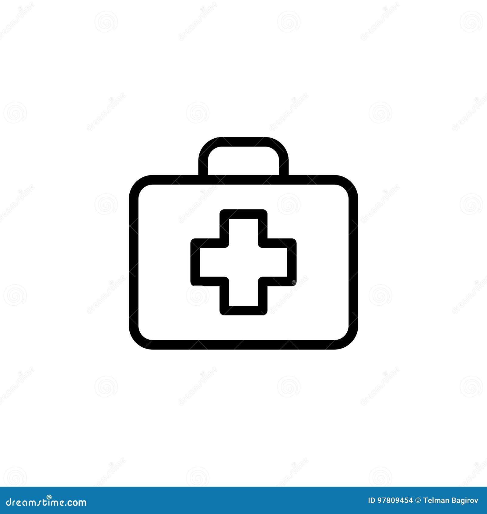 Alinee el icono de los primeros auxilios en el fondo blanco