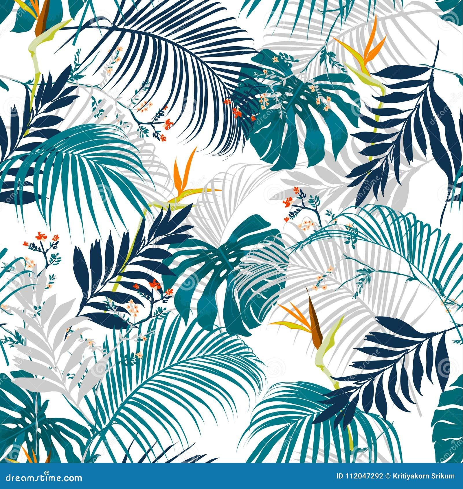 Alinhador longitudinal tropical do verão artístico bonito sem emenda na moda do vetor