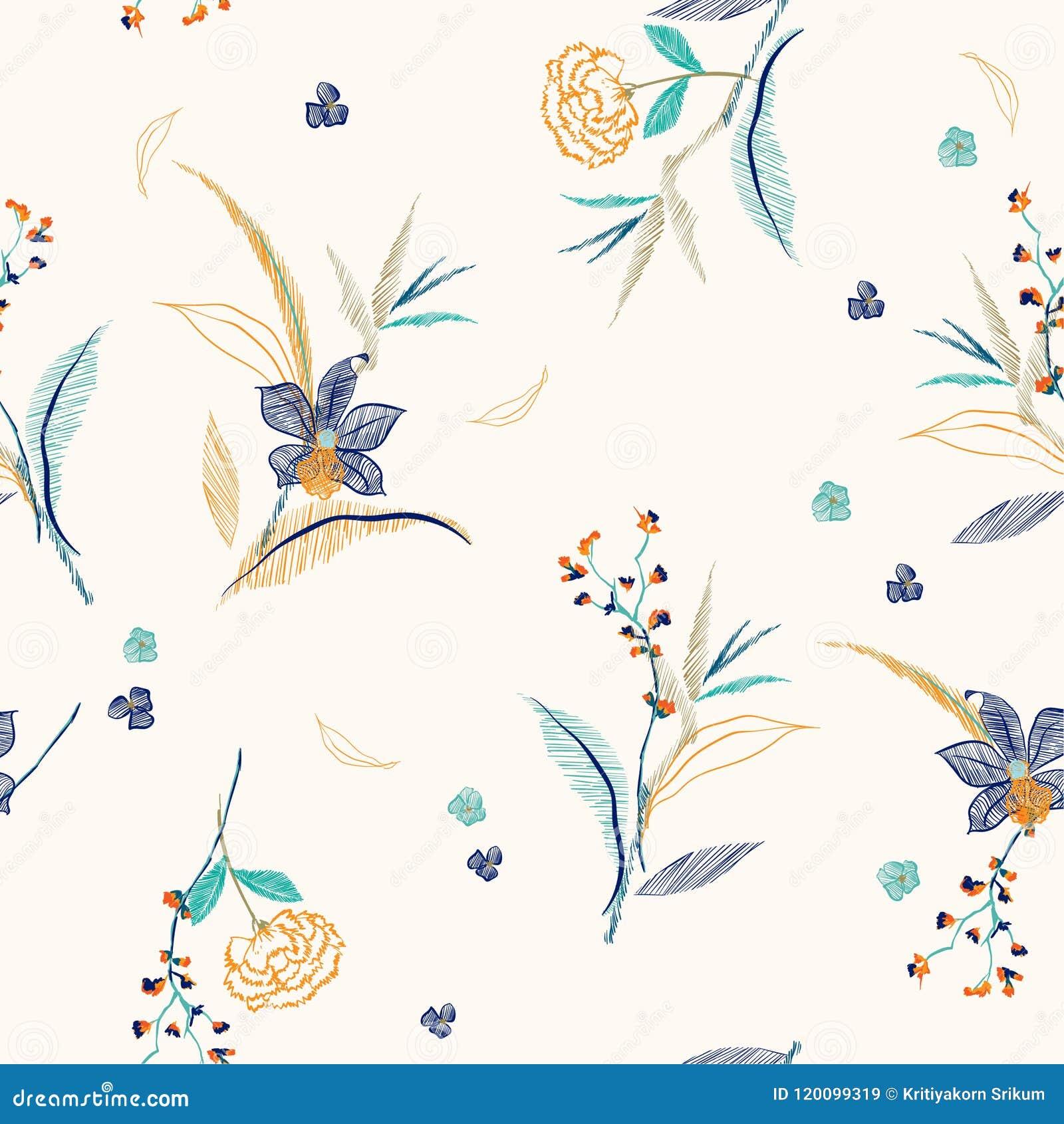 Alinhe O Esboco E As Flores E As Folhas Do Bordado Do Desenho Sem