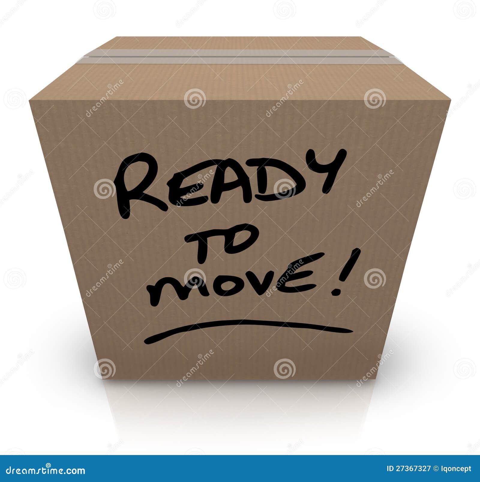 Aliste para mover la realocación móvil de la caja de cartón