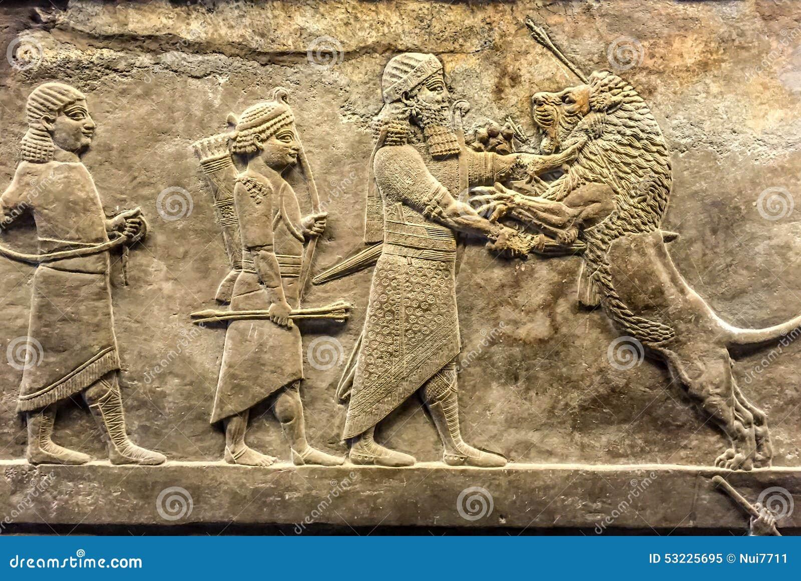 Alivio antiguo del asirio