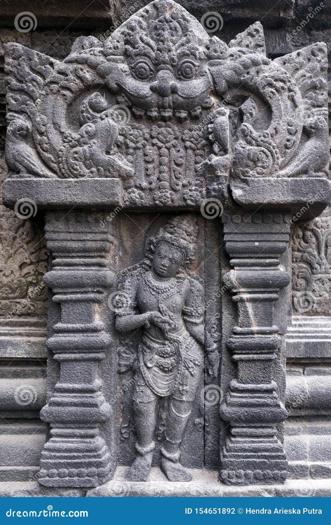Alivio de Bas, templo de Prambanan, ubicación en Yogyakarta, Indonesia