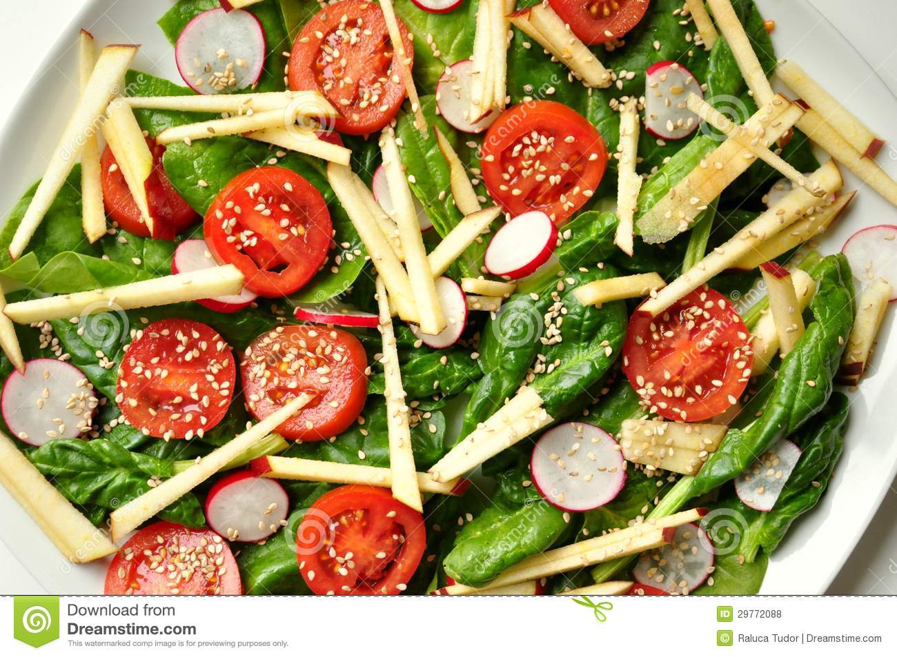 Vegan, Healthy Food : Spinach , Apple And Sesame Salad Royalty Free ...
