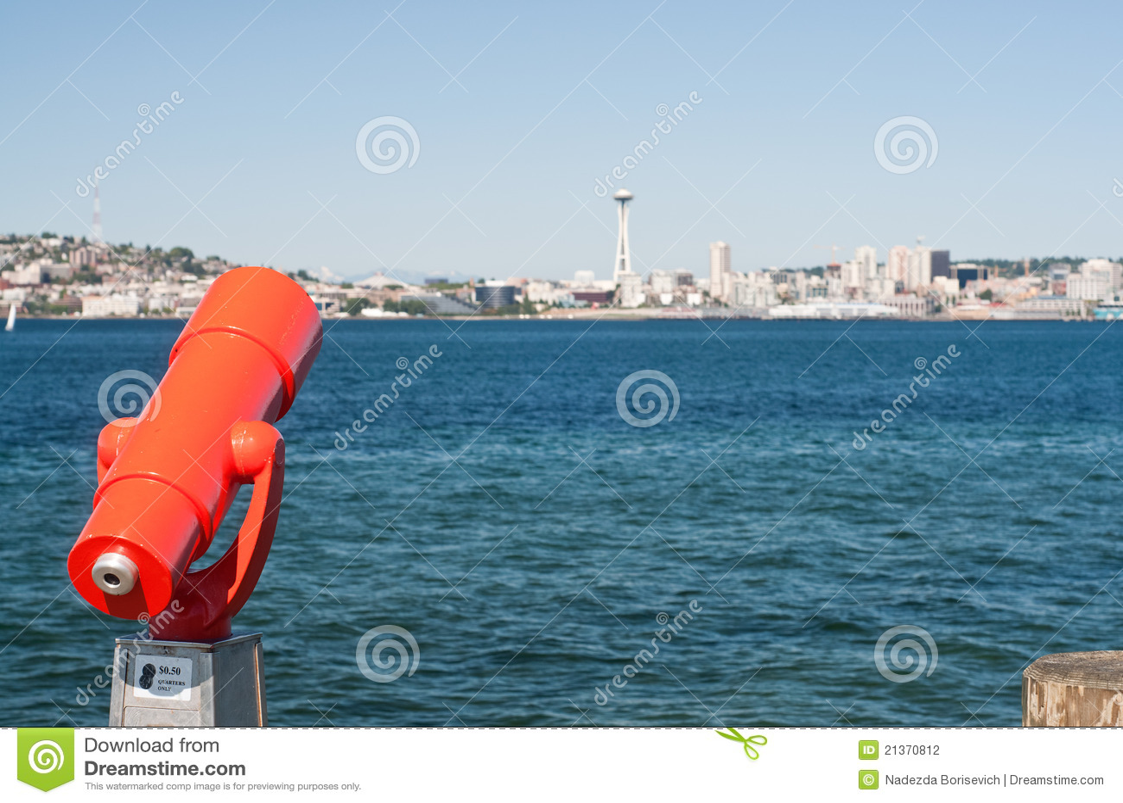 Alki plaży parka Seattle spyglass