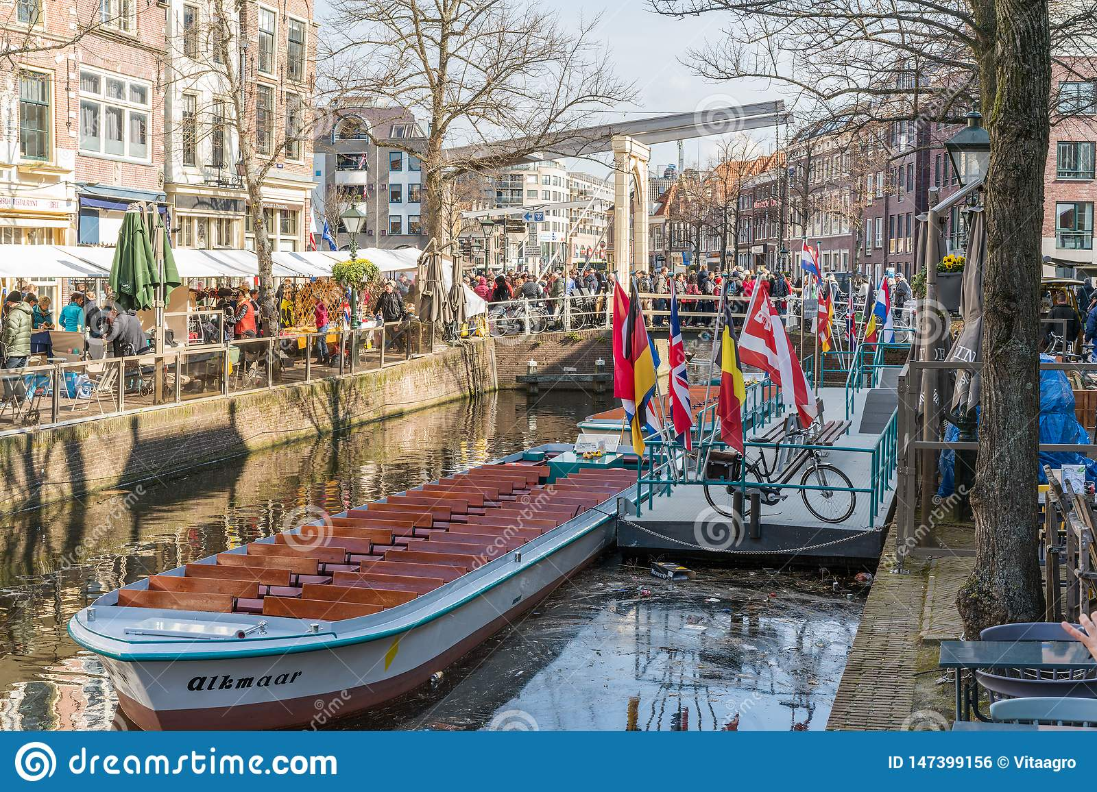 Alkmaar, the Netherlands - April 12, 2019: Kaasmarkt and canals in the Dutch town of Alkmaar, the city with its famous cheese