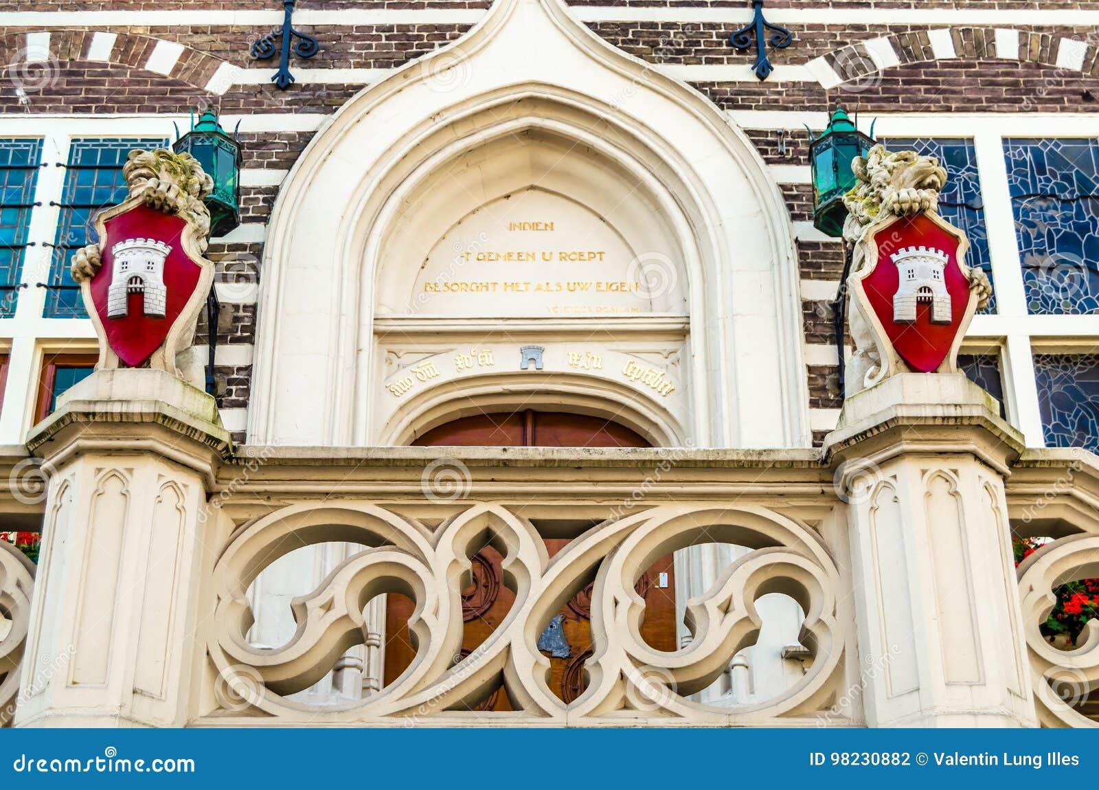 Alkmaar urzędu miasta architektoniczny szczegół
