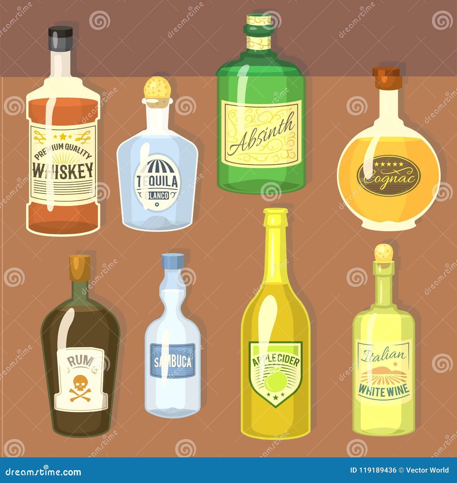 Alkoholów silni napoje w butelki kreskówki szkieł whisky koniaka brandy wina wektoru ilustraci