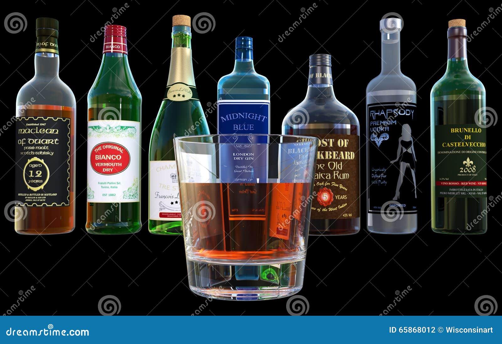 Alkohol, Getränke, Schnaps-Flaschen, Lokalisiert Stock Abbildung ...