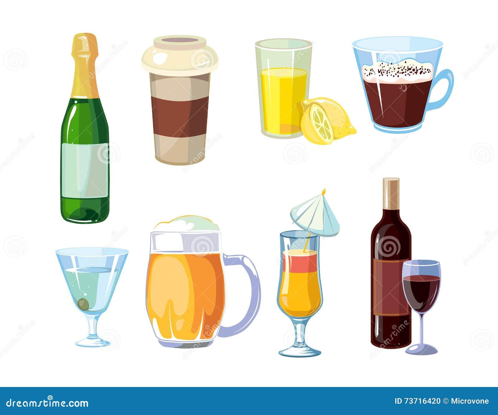 Alkohol Und Nicht Alkoholische Getränke Mit Flaschen, Glasvektor ...
