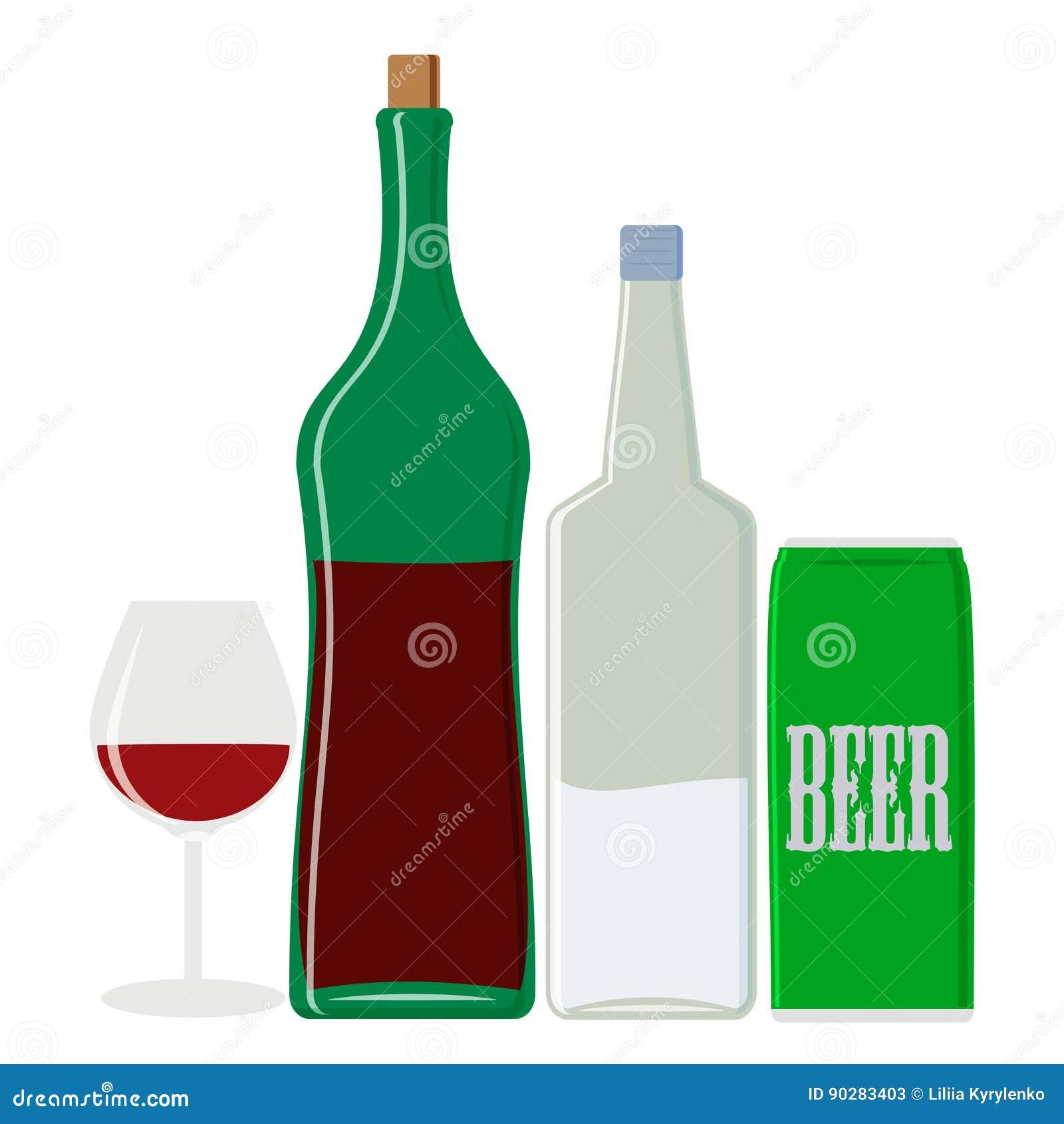 Alkoholgetränke: Wodka Und Wein, Bier Lokalisierte Gegenstände ...