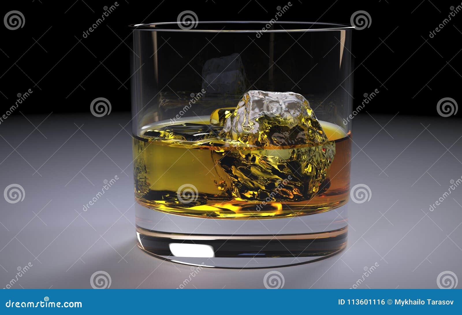 Alkoholiczny Złocisty whisky bourbon w szkle z lodem