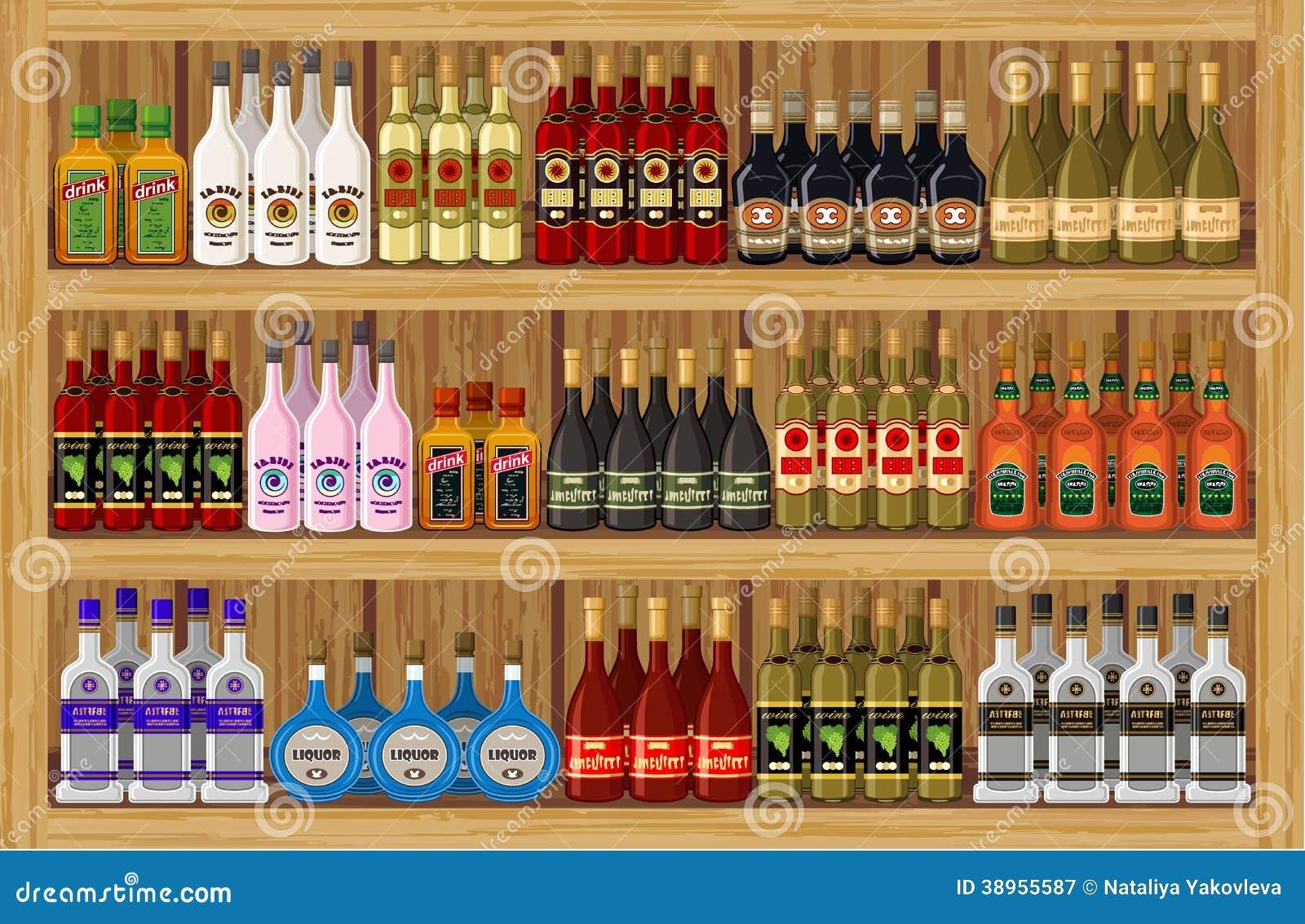 Alkoholische Getränke Des Shops. Vektor Abbildung - Illustration von ...