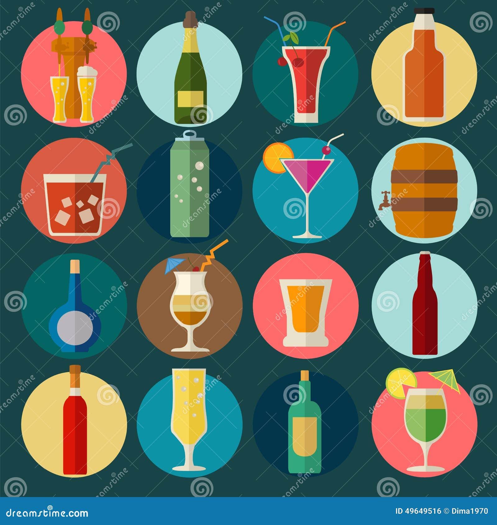 Alkoholisches Getränk trinkt Ikonen 16 flache Ikonen eingestellt