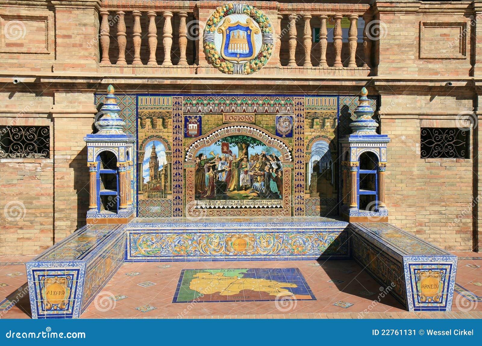 Alkov de espana plaza seville belade med tegel spain