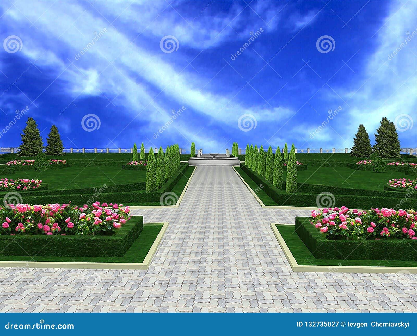 Decoration Allee De Jardin allée treelined de jardin de luxe de manoir, 3d rendre