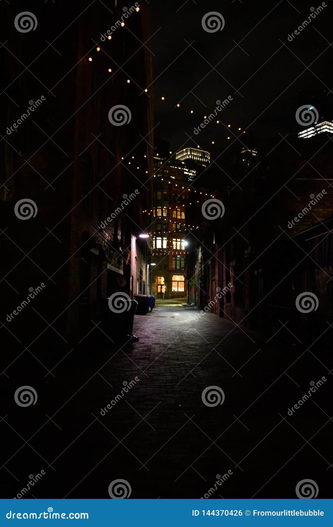 Allée urbaine foncée la nuit