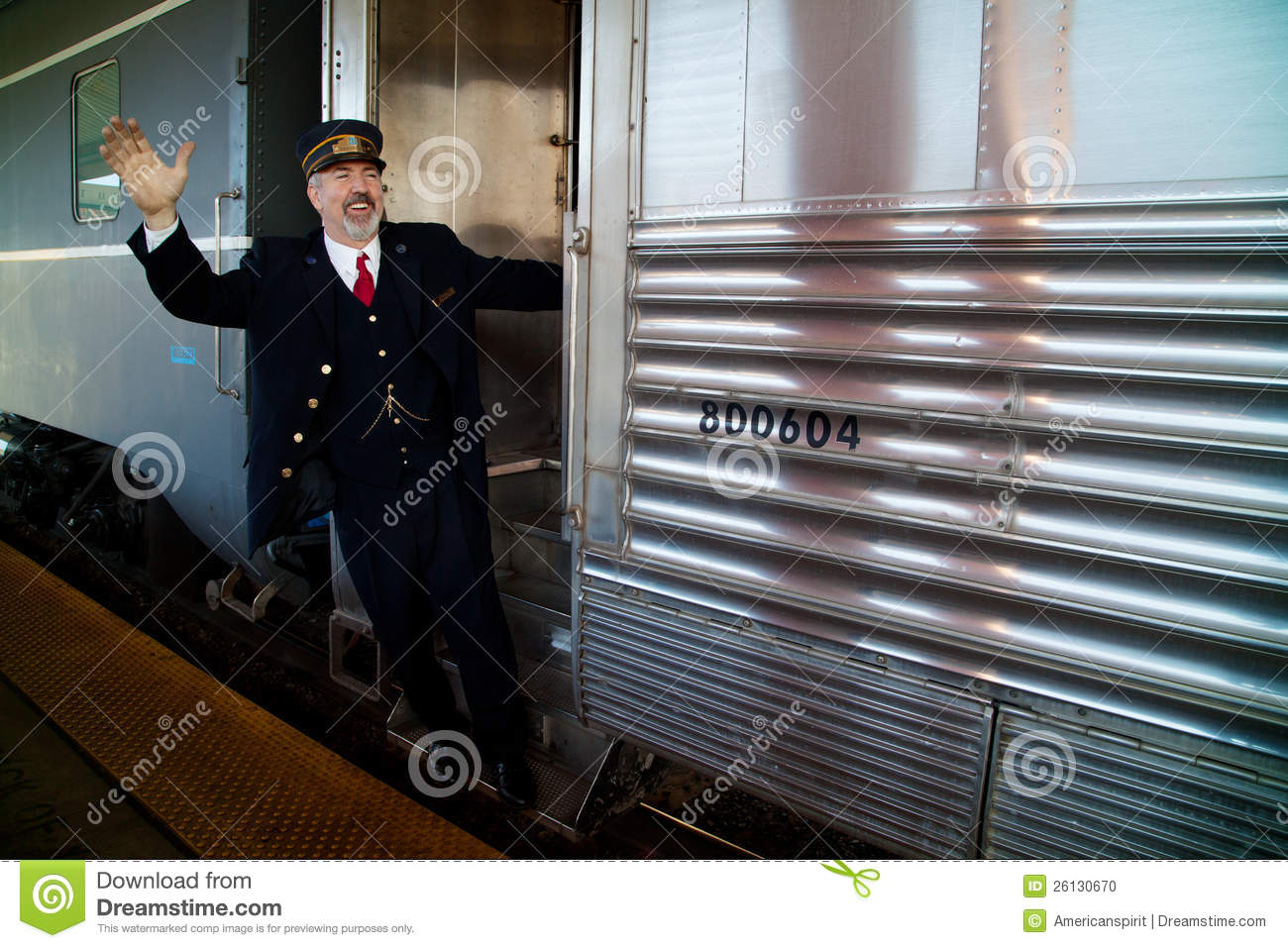 Train Conductor Waving On Train Editorial Image ...