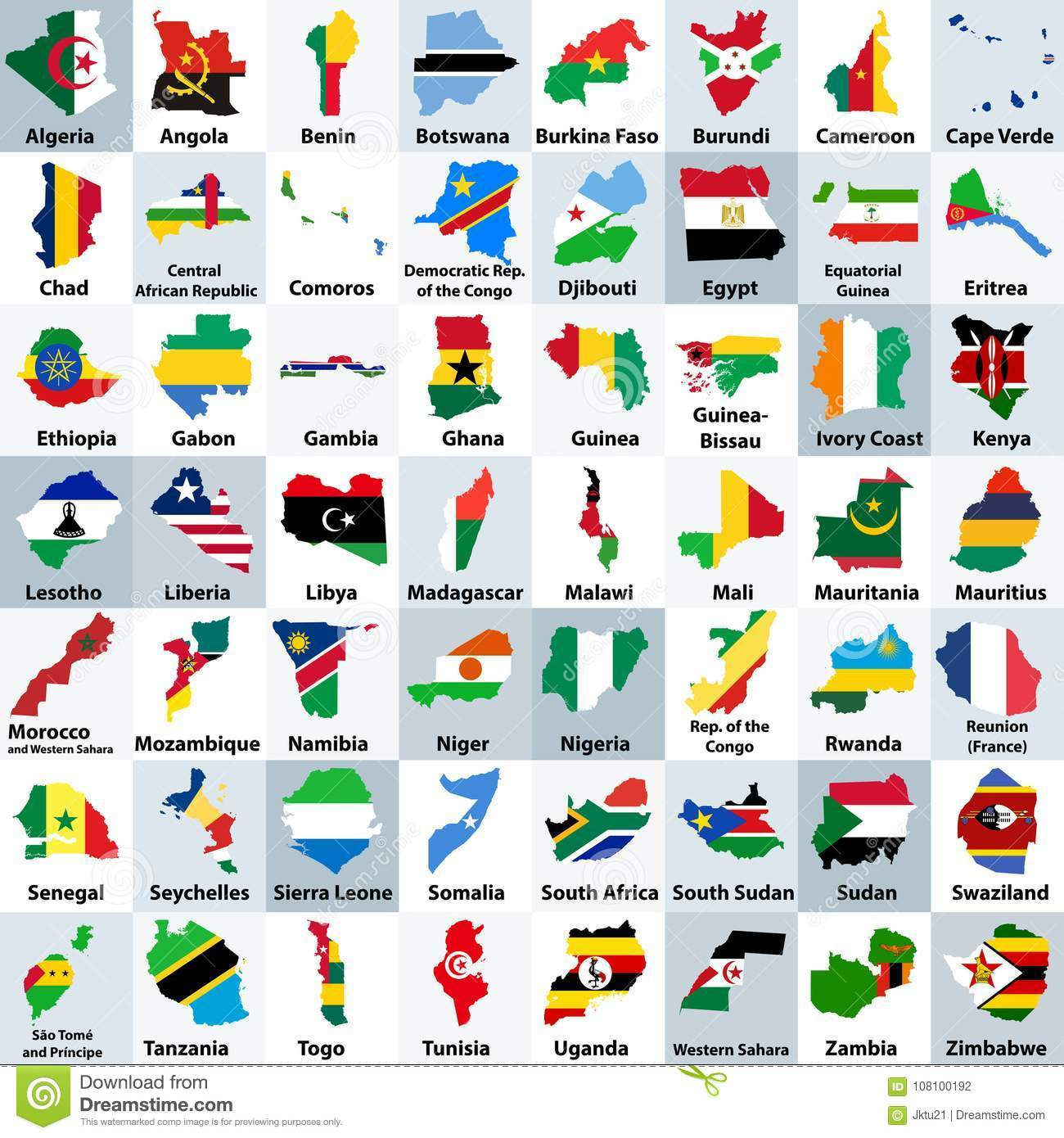 All African Countries Maps Mixed With Their National Flags ...